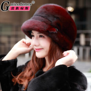 Real mink fur sun hat female models autumn and winter warm fashion fisherman hat