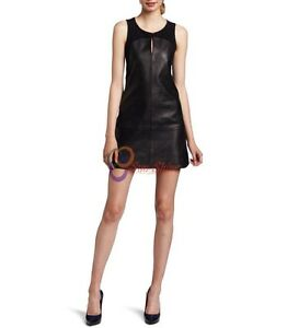Spring Designer Lamb New Leather Women Dress Cocktail Stylish Party Wear  D-172