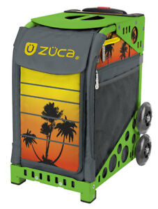 ZUCA Bag TROPICAL SUNSET Insert & Green Frame wFlash Wheels-FREE SEAT CUSHION