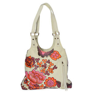 New SUKRITI - Red Floral Pattern Leather Hand Painted Shoulder Bag 14x3.5x12