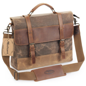Manificent 17 Inch Men's Messenger Bag Vintage Waxed Canvas Genuine Leather C3