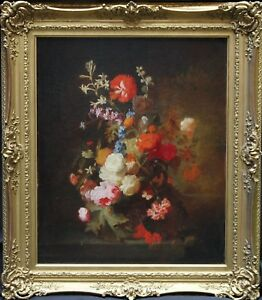BRITISH VICTORIAN 1840 OLD MASTER FLORAL OIL PAINTING ART ROSES DUTCH TRADITION