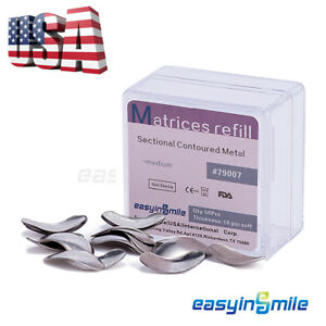 50Pc Dental Metal Matrices Sectional Contoured Matrix Refill Package S M L USA $8.04