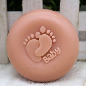 Baby Footprints Silicone Soap Mold Round Candle Mould for DIY Craft Plaster Wax