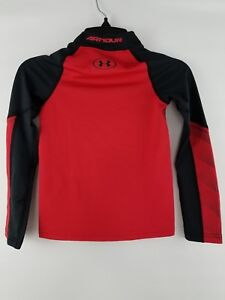 NWT Under Armour Boys Armour Mock Coldgear Fitted Long Sleeve Red Gray Black $50 $14.39