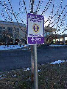 Reserved Parking Street Sign for Combat Wounded Purple Heart Veteran
