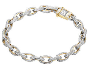 Men's Real Diamond Rolo Link Bracelet In 10K Yellow Gold 4 14 Ct 8