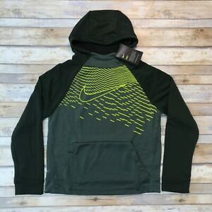 Nike Dry Dark Green Yellow Boys Hoodie Hooded Fleece Sweatshirt $33.00