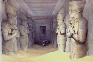 David Roberts RA   Interior of the Great Temple of Aboo Simbel  Antique Lithogra