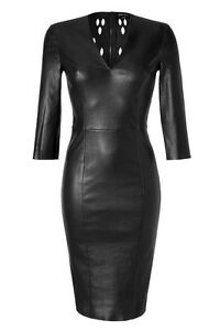 Spring Designer Lamb New Leather Women Dress Cocktail Stylish Party Wear  D-188