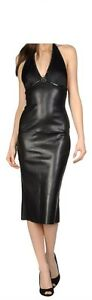 Spring Designer Lamb New Leather Women Dress Cocktail Stylish Party Wear  D-141