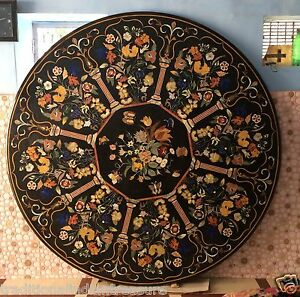 6'x6' Black Marble Dining Table Top Marquetry Scagaliola Arts Inlay Home Decor
