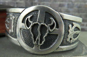 Signed Native American Arrowhead and Skull Sterling Silver Cuff Bracelet
