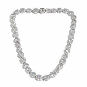 Silver White Topaz Multi Gemstone Gift Necklace for Women 18