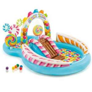 Intex Inflatable Candy Zone Swim Center Kids Splash Pool w Waterslide Used