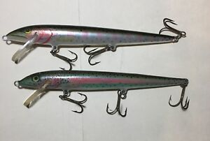 Lot of 2 Vintage Original Rapala Floating Wood Lures Finland Rainbow
