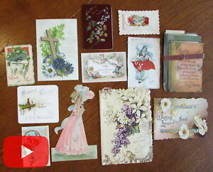 Color printing chromolithography 1880 1910 era lot x 12 items floral sweet $140.00