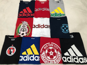 $250 LOT of 10 ADIDAS Mens T-SHIRTS Athletic Gym Workout MEXICO Soccer LARGE L