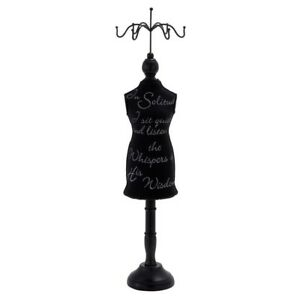 Jewelry Holder Mannequin 26 In Black Script Wood Necklace Bracelet Display Stand