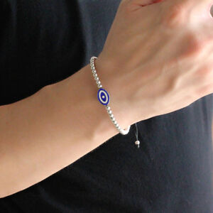 925 Sterling Silver Turkish Evil Eye Bracelet Man Woman Protector Gift Jewelry