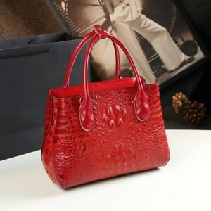 High Quality Split Leather Alligator Grain Top Handle Designer Handbag