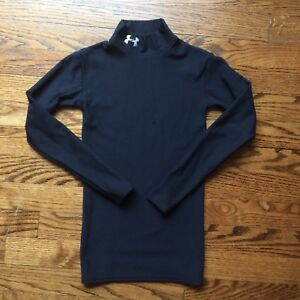 Under Armour Youth Small YS Long Sleeve Coldgear Mock Neck Fitted Shirt Black