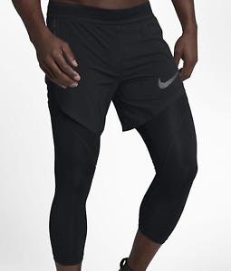 Nike PRO FLEX Men's 2-IN 1 34 HYBRID Running Tights 840095-011 MSRP $135