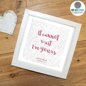 Personalised ANY LYRICS ANY NAME Framed Print Poster Wedding Anniversary Gift