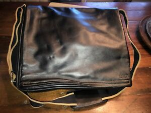 Original Bree Black Leather Messenger Bag Crossbody Made Germany Purse Carry On