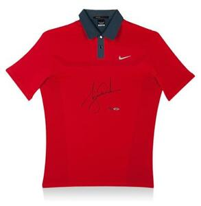 Tiger Woods Signed Red Nike Golf Polo Shirt Autograph Jersey