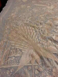 Antiques Chinese FULL Embroidered Wedding Sheet Paino Shawl Tapestry RARE