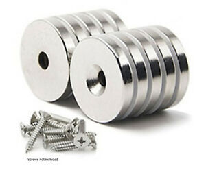 10 Pack Strong Countersunk Ring Magnets 1 Inch Large Rare Earth Neodymium $19.99