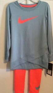 Nike Girls Youth 2 Piece Shirt Leggings Set Size 4t Dri Fit Hot Punch Logo Blue