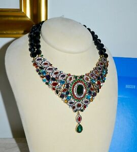 NIB $300 HEIDI DAUS *Worth Waiting For* Crystal Drop Statement Necklace Green