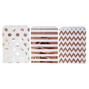 48 Polka Dot Chevron Rose Gold Food Candy Treat Party Favor Bags 5x7 Gift