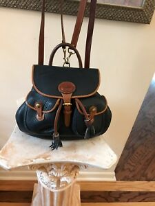 Dooney & Bourke Blue Pebbled Leather Tassel Drawstring Backpack Handbag USA
