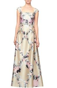 Kay Unger Luminous Painterly Floral Print Square Neck Ball Gown Dress 10 NWT