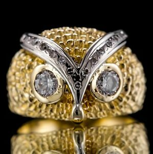 VINTAGE ESTATE 0.65ctw NATURAL DIAMOND 14k GOLD OWL OF WISDOM COCKTAIL RING