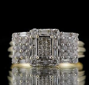 VINTAGE DESIGNER 1.85ctw NATURAL DIAMOND 14k YELLOW GOLD CLUSTER COCKTAIL RING