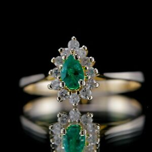 VINTAGE ESTATE 0.38ctw MUZO COLOMBIAN EMERALD DIAMOND 14k GOLD COCKTAIL RING