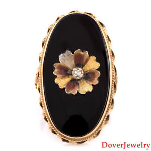 Vintage Diamond & Onyx 14K Yellow Gold Flower Cocktail Ring 6.1 Grams NR