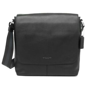 BRAND NEW MENS COACH F28576 CHARLES SMALL BLACK LEATHER MESSENGER CROSSBODY BAG