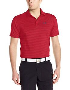 Under Armour NWT Small Men's UA Playoff Red Black Stripe Short Sleeve Golf Polo $25.91