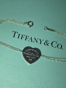 Please Return to Tiffany & Co Sterling Silver Heart Tag Charm Chain Bracelet 7""