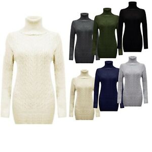 WOMENS CABLE KNITTED JUMPER DRESS LADIES POLO ROLL NECK STRETCH CHUNKY TOP 8-22