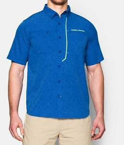 Under Armour UA ArmourVent Fishing Golf Short Sleeve Shirt Blue Yellow XL