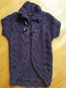 TED BAKER LADIES NAVY CABLE KNIT CHUNKY SHORT SLEEVE CARDIGAN SIZE 4  - NEW