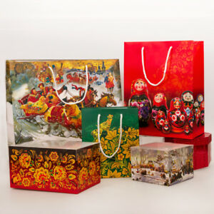 Russian Style Gift Bag Gift Wrap Gift Packaging Nesting Dolls Troika Faberge