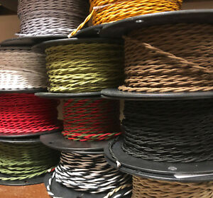 Cloth Covered 2 wire Twisted Pair Cord Braided in USA 22 Colors Per foot