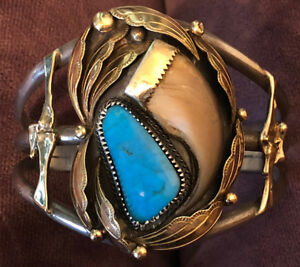 Fabulous Loren Begay Bracelet Natural Wonderful Turquoise Faux Claw Gold Overlay